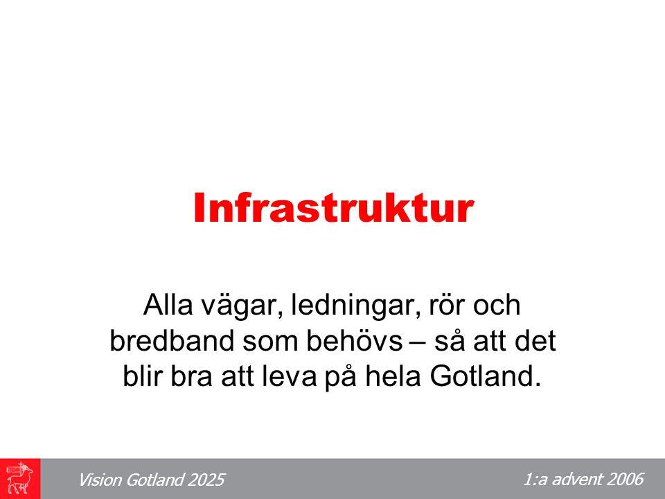1:a advent 2006 Vision Gotland 2025 Infrastruktur Alla vägar, ledningar, rör och bredband som behövs – så att det blir bra att leva på hela Gotland.