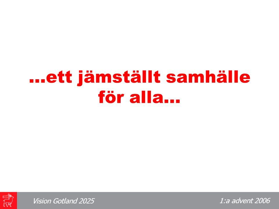 1:a advent 2006 Vision Gotland 2025 …ett jämställt samhälle för alla…