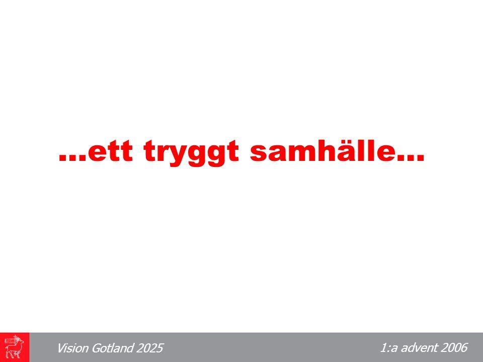 1:a advent 2006 Vision Gotland 2025 …ett tryggt samhälle…
