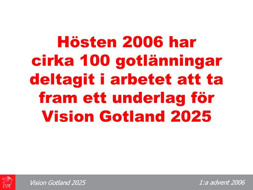 1:a advent 2006 Vision Gotland 2025 Dessa gotlänningar representerar det gotländska samhället De är utsedda av organisationer, myndigheter och näringsliv.