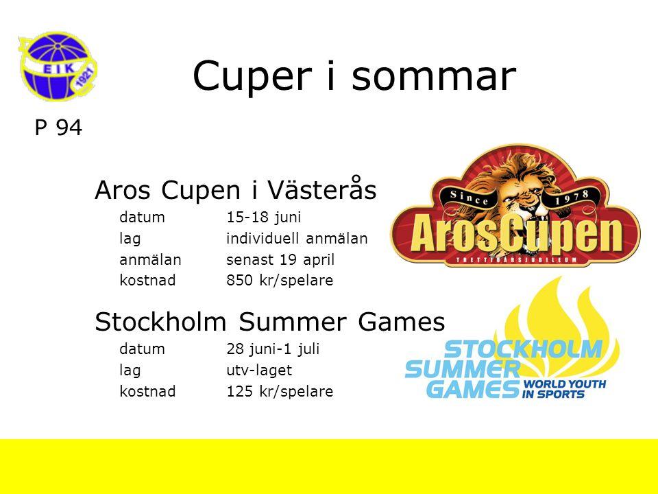 P 94 Cuper i sommar Aros Cupen i Västerås datum15-18 juni lagindividuell anmälan anmälansenast 19 april kostnad850 kr/spelare Stockholm Summer Games datum28 juni-1 juli lagutv-laget kostnad125 kr/spelare