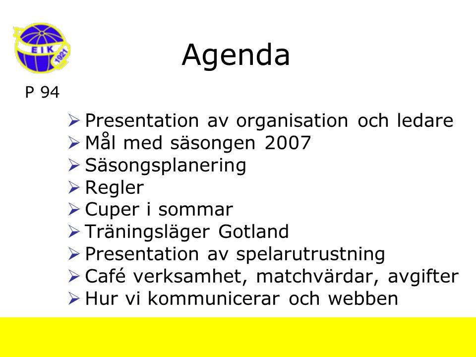 P 94 Agenda  Presentation av organisation och ledare  Mål med säsongen 2007  Säsongsplanering  Regler  Cuper i sommar  Träningsläger Gotland  Presentation av spelarutrustning  Café verksamhet, matchvärdar, avgifter  Hur vi kommunicerar och webben