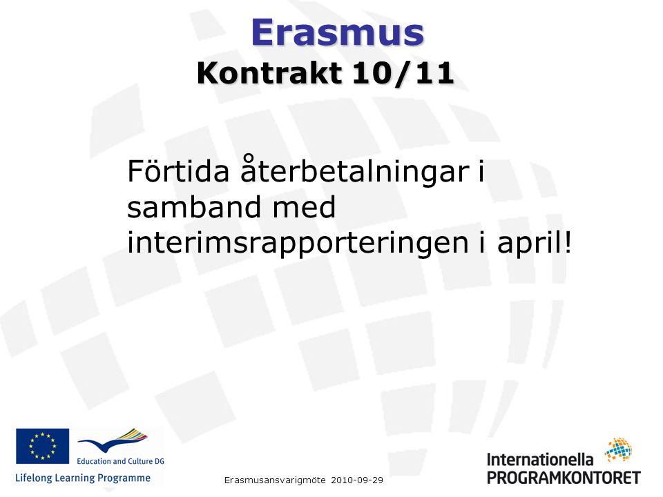 Erasmus Erasmusansvarigmöte 2010-09-29 Kontrakt 10/11 Förtida återbetalningar i samband med interimsrapporteringen i april!