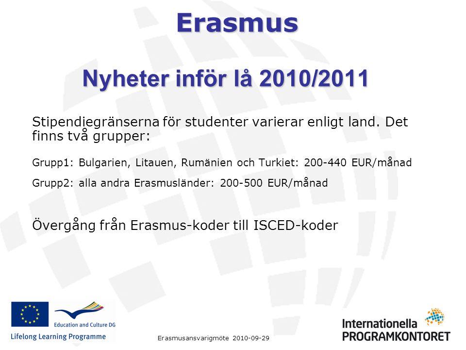 Erasmus Erasmusansvarigmöte 2010-09-29 Stipendiegränserna för studenter varierar enligt land. Det finns två grupper: Grupp1: Bulgarien, Litauen, Rumän