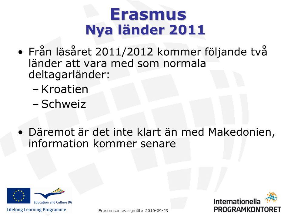 Erasmus Erasmusansvarigmöte 2010-09-29 Nya länder 2011 Från läsåret 2011/2012 kommer följande två länder att vara med som normala deltagarländer: –Kroatien –Schweiz Däremot är det inte klart än med Makedonien, information kommer senare