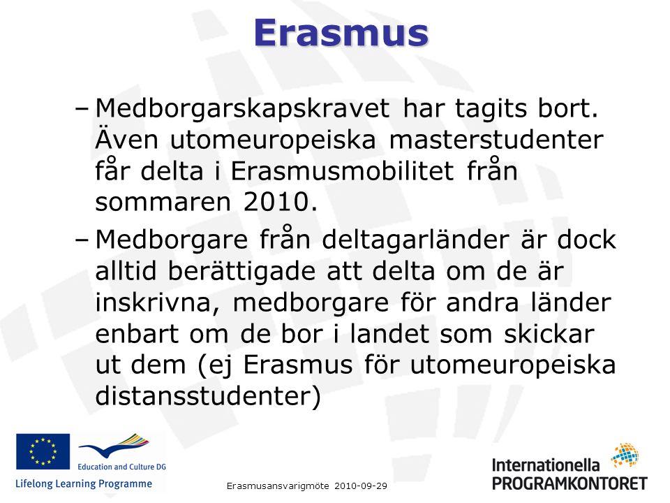 Erasmus Erasmusansvarigmöte 2010-09-29 –Medborgarskapskravet har tagits bort. Även utomeuropeiska masterstudenter får delta i Erasmusmobilitet från so