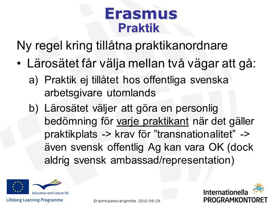 Erasmus Erasmusansvarigmöte 2010-09-29 Praktik Ny regel kring tillåtna praktikanordnare Lärosätet får välja mellan två vägar att gå: a)Praktik ej tillåtet hos offentliga svenska arbetsgivare utomlands b)Lärosätet väljer att göra en personlig bedömning för varje praktikant när det gäller praktikplats -> krav för transnationalitet -> även svensk offentlig Ag kan vara OK (dock aldrig svensk ambassad/representation)