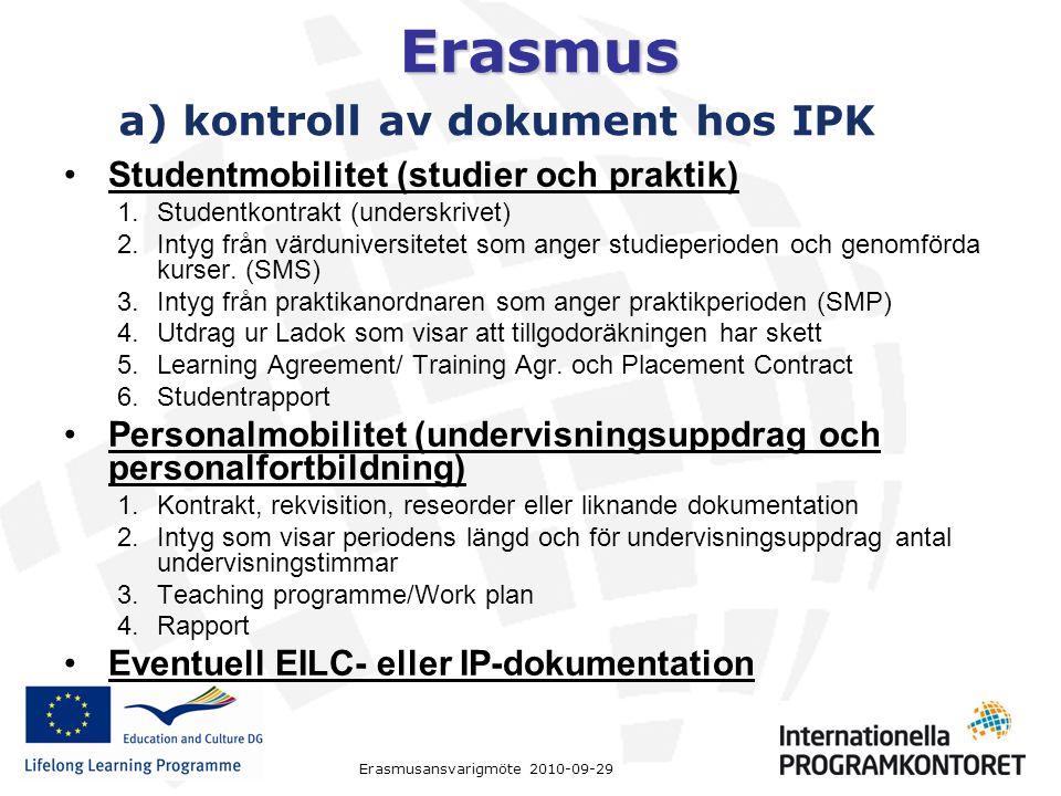 Erasmus Studentmobilitet (studier och praktik) 1.Studentkontrakt (underskrivet) 2.Intyg från värduniversitetet som anger studieperioden och genomförda kurser.