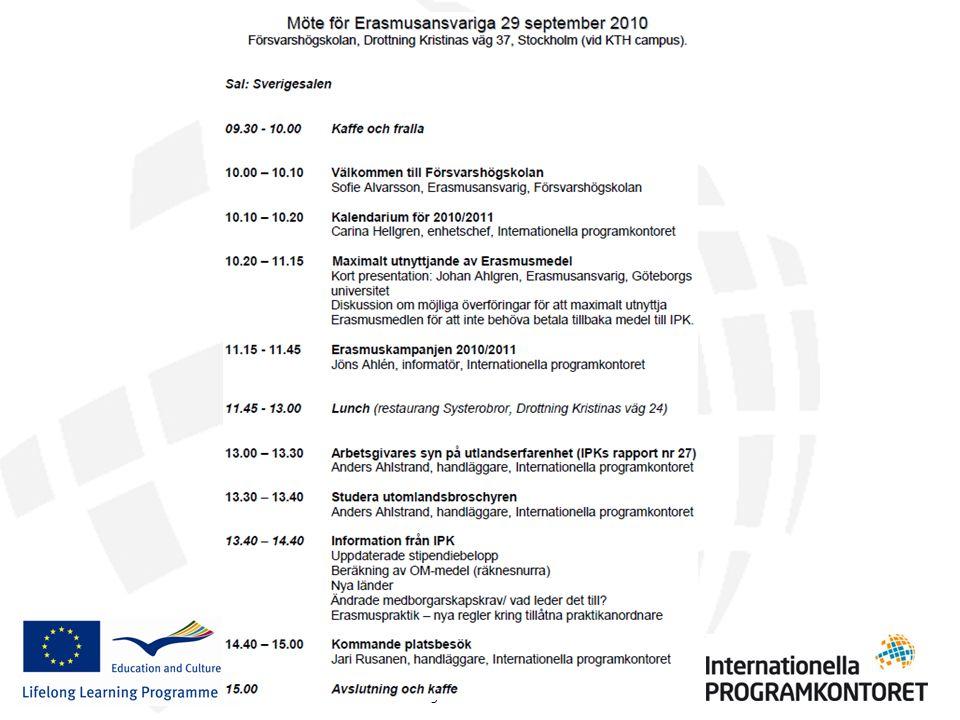 Erasmus Erasmusansvarigmöte 2010-09-29