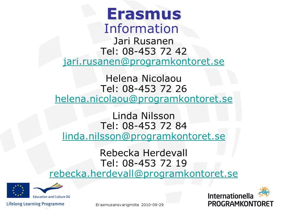 Erasmus Erasmusansvarigmöte 2010-09-29 Information Jari Rusanen Tel: 08-453 72 42 jari.rusanen@programkontoret.se Helena Nicolaou Tel: 08-453 72 26 he