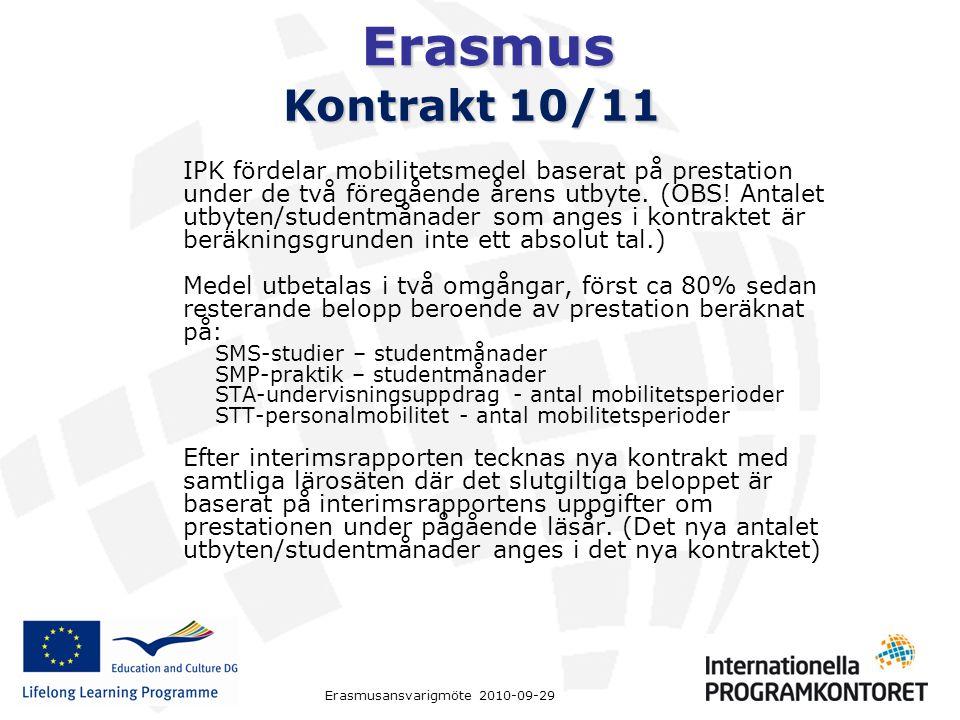 Erasmus Erasmusansvarigmöte 2010-09-29 Kontrakt 10/11 IPK fördelar mobilitetsmedel baserat på prestation under de två föregående årens utbyte.