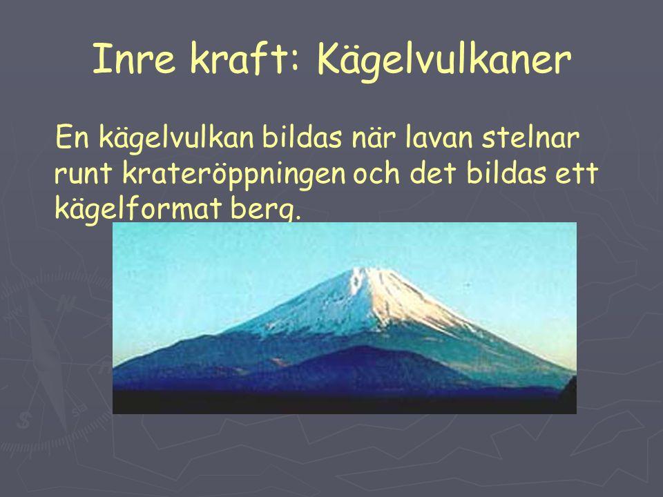 Inre kraft: Kägelvulkaner En kägelvulkan bildas när lavan stelnar runt krateröppningen och det bildas ett kägelformat berg.