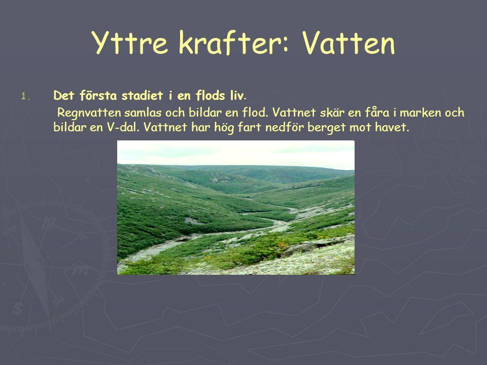 Yttre krafter: Vatten 1. 1. Det första stadiet i en flods liv.