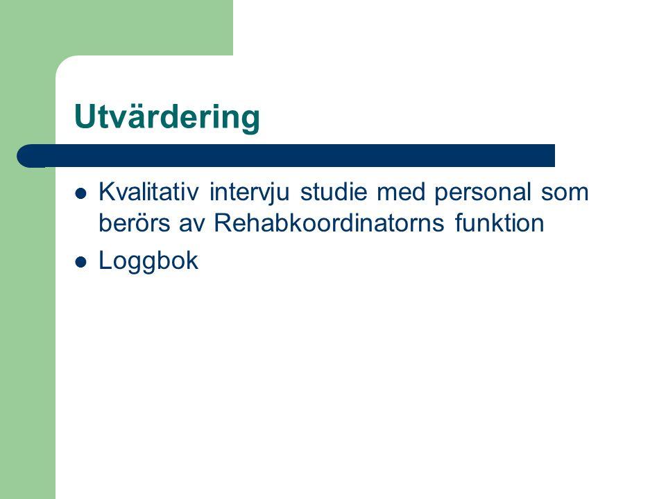 Utvärdering Kvalitativ intervju studie med personal som berörs av Rehabkoordinatorns funktion Loggbok