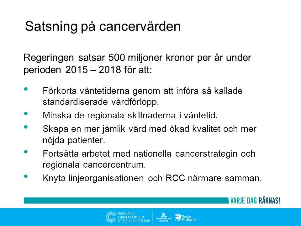 Regeringen satsar 500 miljoner kronor per år under perioden 2015 – 2018 för att: Förkorta väntetiderna genom att införa så kallade standardiserade vårdförlopp.