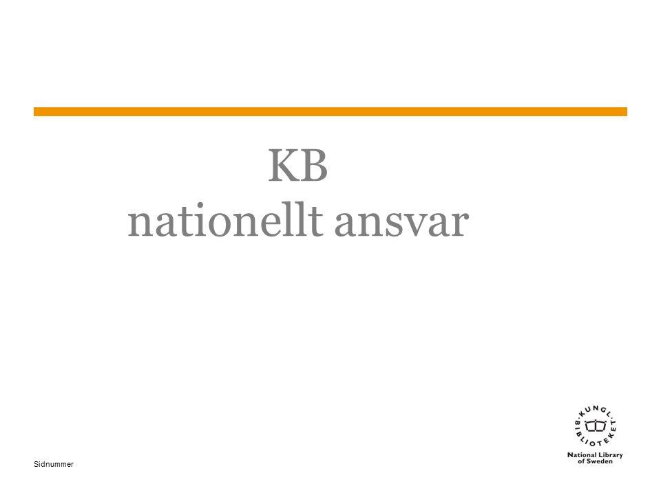 Sidnummer KB nationellt ansvar