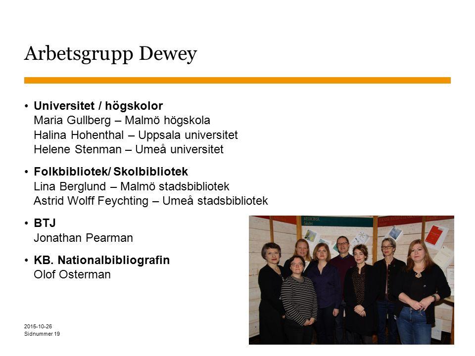 Sidnummer Arbetsgrupp Dewey Universitet / högskolor Maria Gullberg – Malmö högskola Halina Hohenthal – Uppsala universitet Helene Stenman – Umeå unive