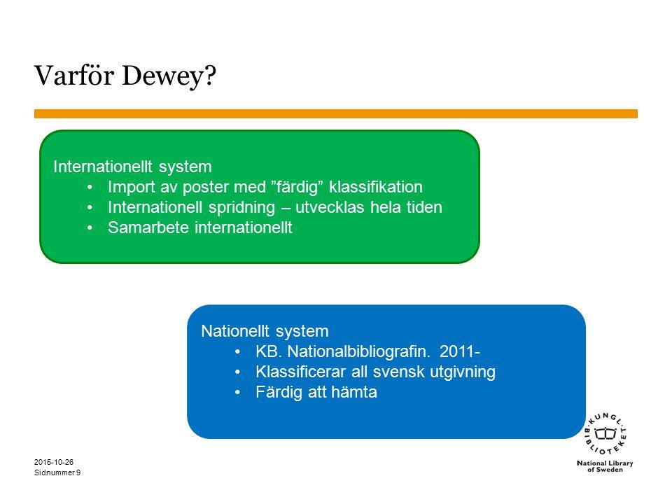 """Sidnummer 2015-10-26 9 Varför Dewey? Internationellt system Import av poster med """"färdig"""" klassifikation Internationell spridning – utvecklas hela tid"""