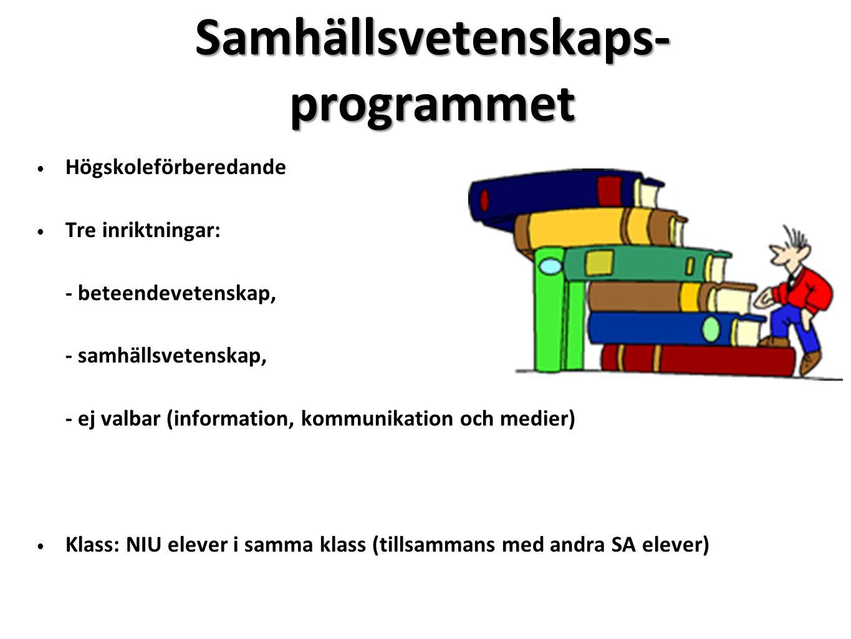 Samhällsvetenskaps- programmet Högskoleförberedande Tre inriktningar: - beteendevetenskap, - samhällsvetenskap, - ej valbar (information, kommunikatio