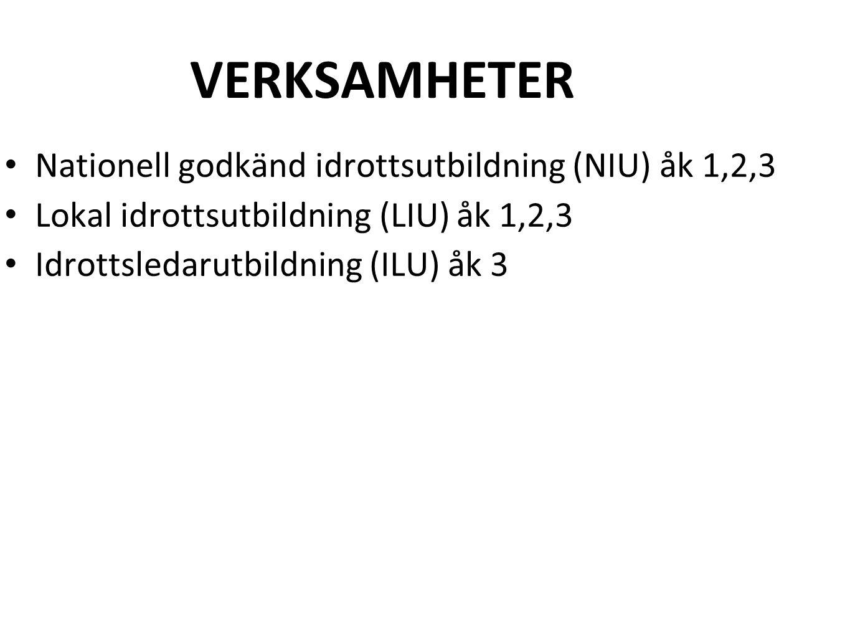 VERKSAMHETER Nationell godkänd idrottsutbildning (NIU) åk 1,2,3 Lokal idrottsutbildning (LIU) åk 1,2,3 Idrottsledarutbildning (ILU) åk 3