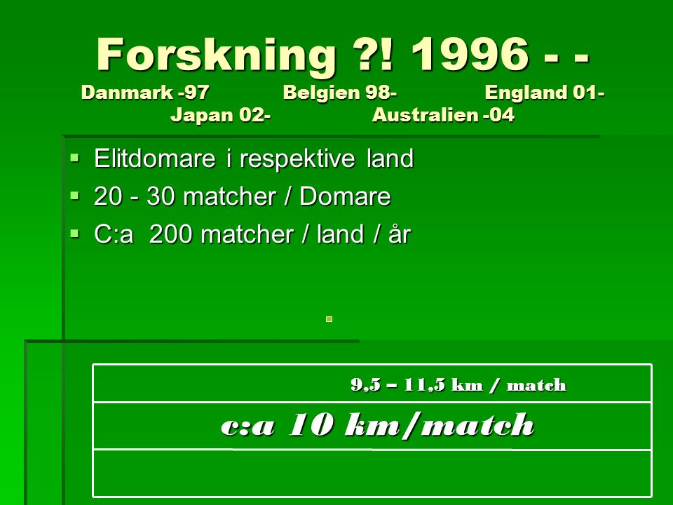 Forskning ?! 1996 - - Danmark -97 Belgien 98- England 01- Japan 02- Australien -04  Elitdomare i respektive land  20 - 30 matcher / Domare  C:a 200