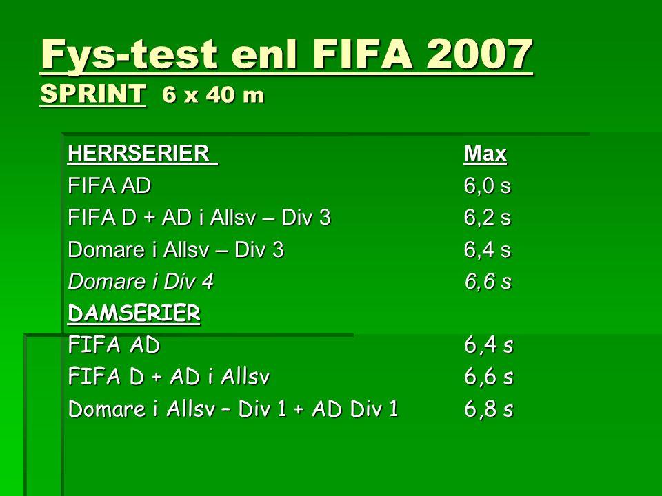 Fys-test enl FIFA 2007 SPRINT 6 x 40 m HERRSERIER Max FIFA AD6,0 s FIFA D + AD i Allsv – Div 36,2 s Domare i Allsv – Div 36,4 s Domare i Div 4 6,6 s D