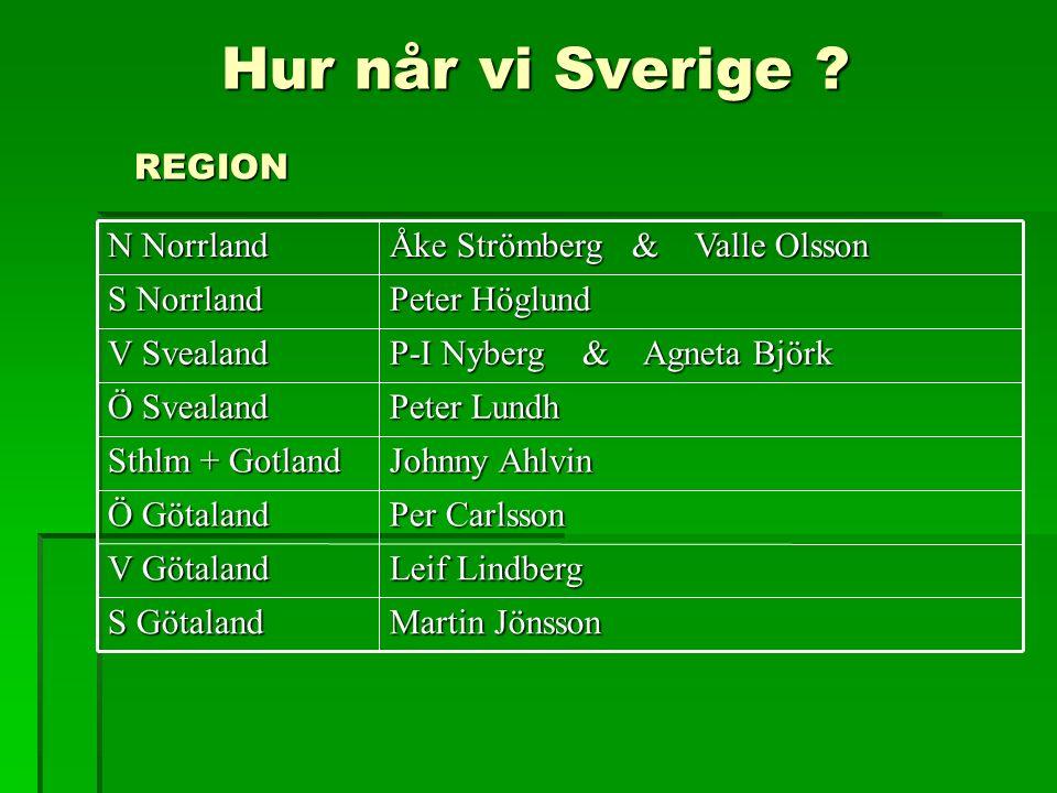 Hur når vi Sverige ? REGION Hur når vi Sverige ? REGION Martin Jönsson S Götaland Leif Lindberg V Götaland Per Carlsson Ö Götaland Johnny Ahlvin Sthlm