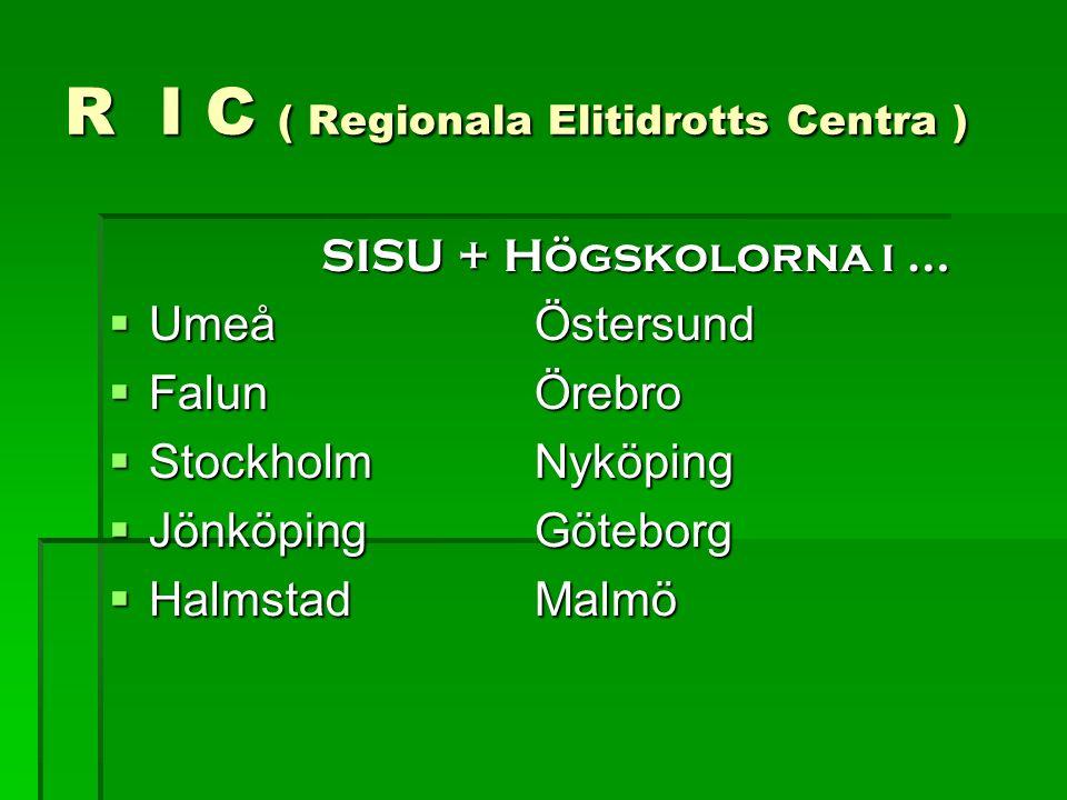 R I C ( Regionala Elitidrotts Centra )  SISU + Högskolorna i …  UmeåÖstersund  Falun Örebro  StockholmNyköping  JönköpingGöteborg  HalmstadMalmö