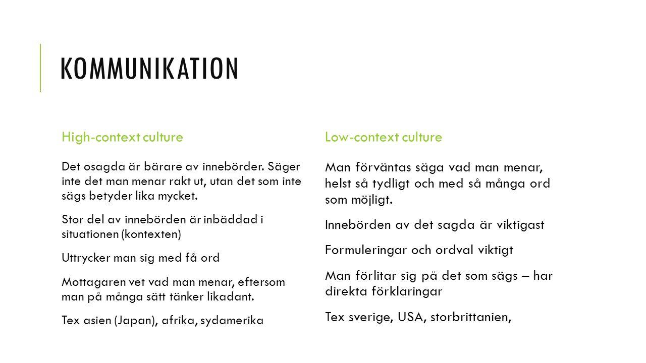 KOMMUNIKATION High-context culture Det osagda är bärare av innebörder.