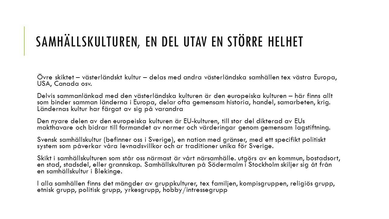 SAMHÄLLSKULTUREN, EN DEL UTAV EN STÖRRE HELHET Övre skiktet – västerländskt kultur – delas med andra västerländska samhällen tex västra Europa, USA, C