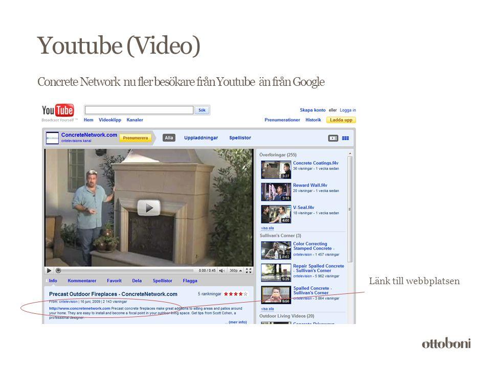Concrete Network nu fler besökare från Youtube än från Google Länk till webbplatsen