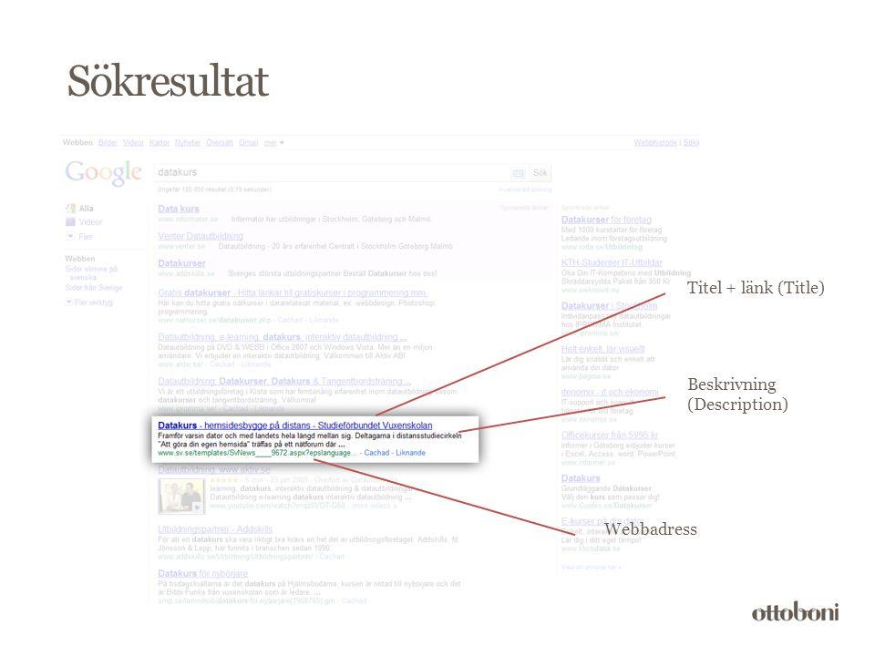 Sökresultat Titel + länk (Title) Webbadress Beskrivning (Description)