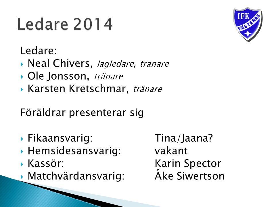 Ledare:  Neal Chivers, lagledare, tränare  Ole Jonsson, tränare  Karsten Kretschmar, tränare Föräldrar presenterar sig  Fikaansvarig: Tina/Jaana.