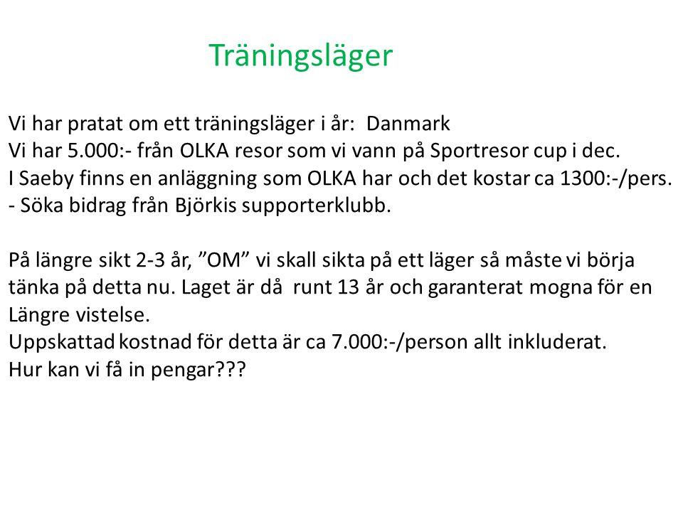 Träningsläger Vi har pratat om ett träningsläger i år: Danmark Vi har 5.000:- från OLKA resor som vi vann på Sportresor cup i dec.