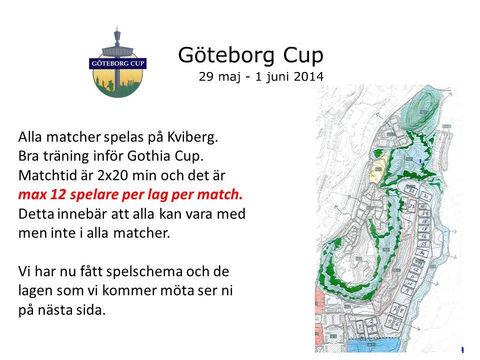 Alla matcher spelas på Kviberg. Bra träning inför Gothia Cup.