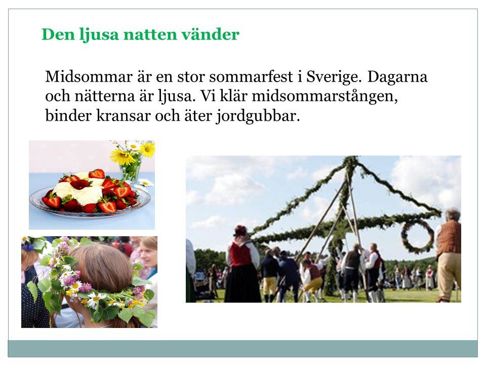 Den ljusa natten vänder Midsommar är en stor sommarfest i Sverige. Dagarna och nätterna är ljusa. Vi klär midsommarstången, binder kransar och äter jo
