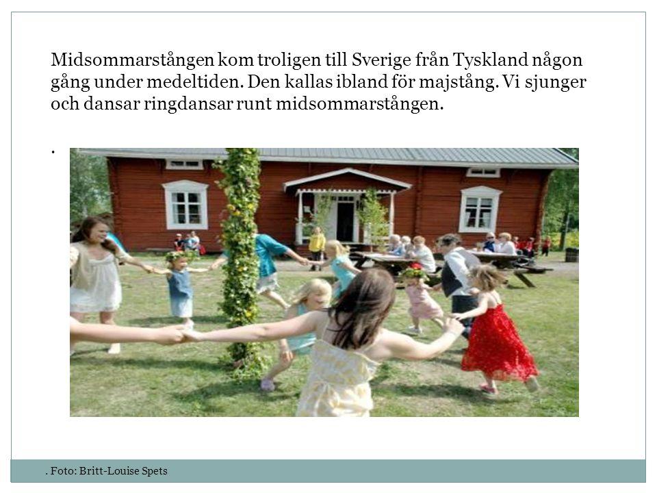 Midsommarstången kom troligen till Sverige från Tyskland någon gång under medeltiden. Den kallas ibland för majstång. Vi sjunger och dansar ringdansar