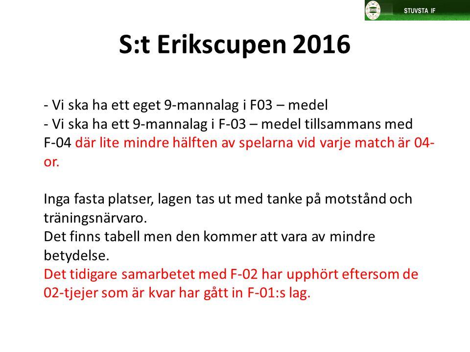 S:t Erikscupen 2016 - Vi ska ha ett eget 9-mannalag i F03 – medel - Vi ska ha ett 9-mannalag i F-03 – medel tillsammans med F-04 där lite mindre hälft