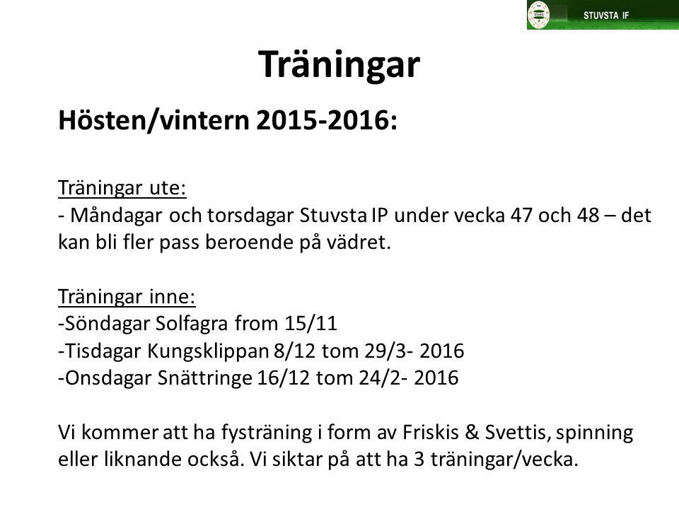 Hösten/vintern 2015-2016: Träningar ute: - Måndagar och torsdagar Stuvsta IP under vecka 47 och 48 – det kan bli fler pass beroende på vädret. Träning