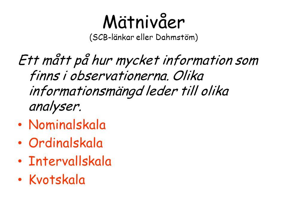 Mätnivåer (SCB-länkar eller Dahmstöm) Ett mått på hur mycket information som finns i observationerna.