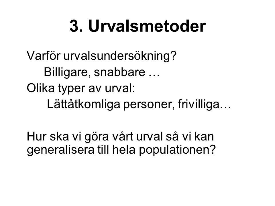3. Urvalsmetoder Varför urvalsundersökning.