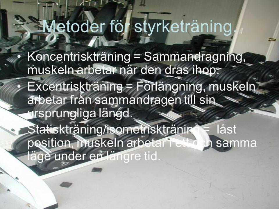 Metoder för styrketräning. Koncentriskträning = Sammandragning, muskeln arbetar när den dras ihop.