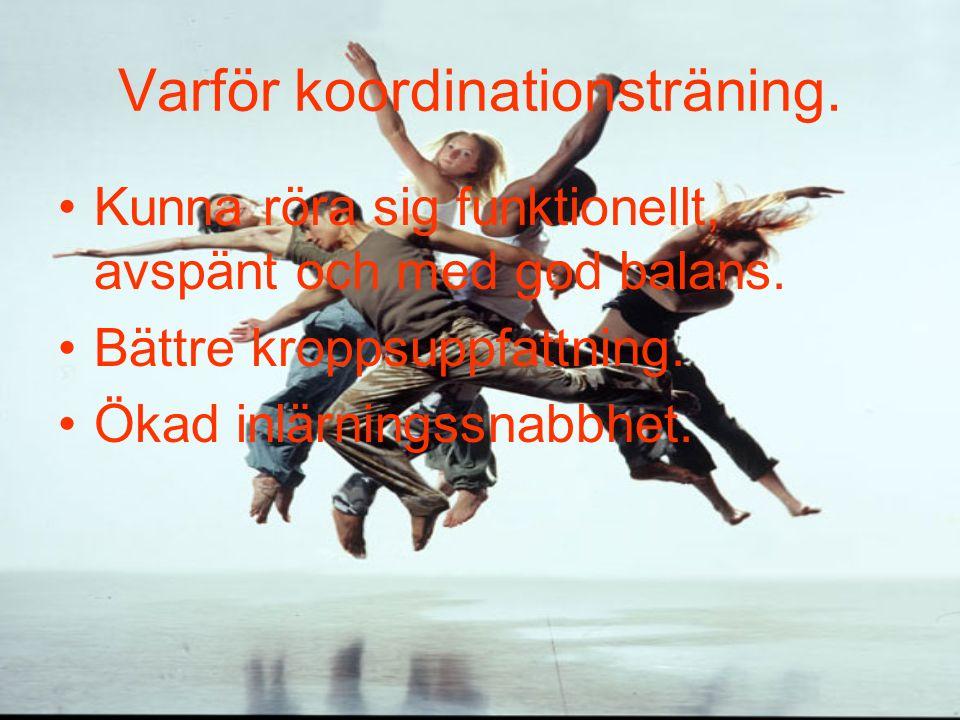 Varför koordinationsträning. Kunna röra sig funktionellt, avspänt och med god balans.