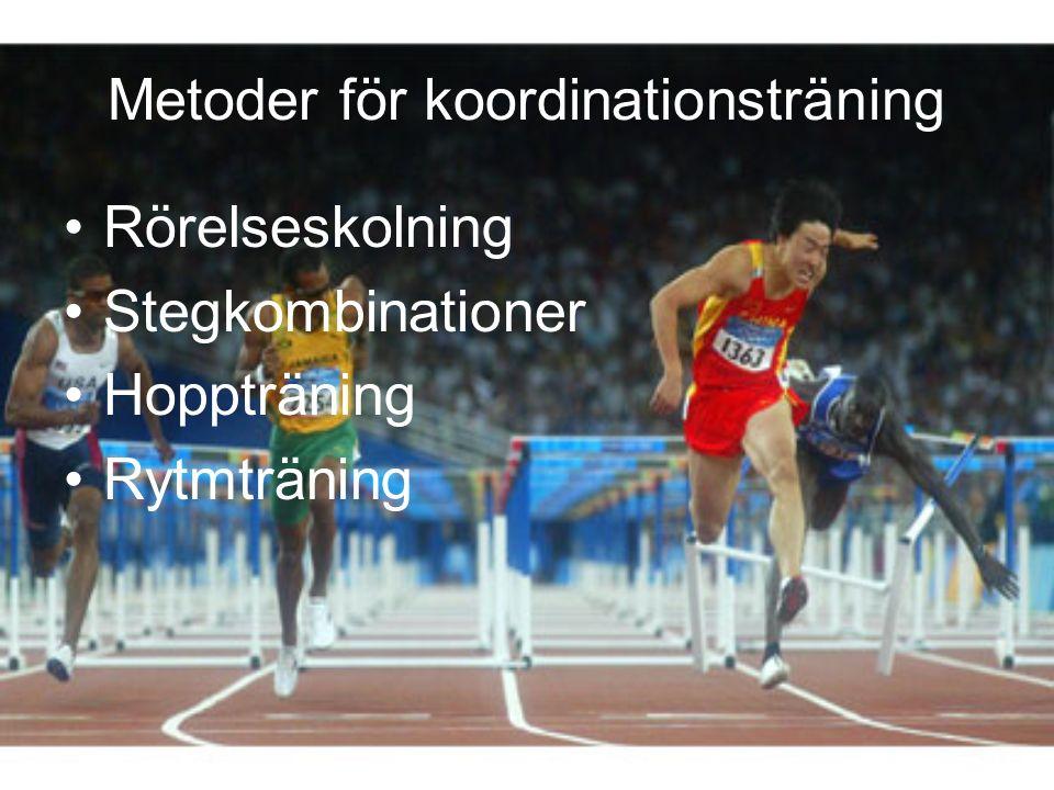 Metoder för koordinationsträning Rörelseskolning Stegkombinationer Hoppträning Rytmträning