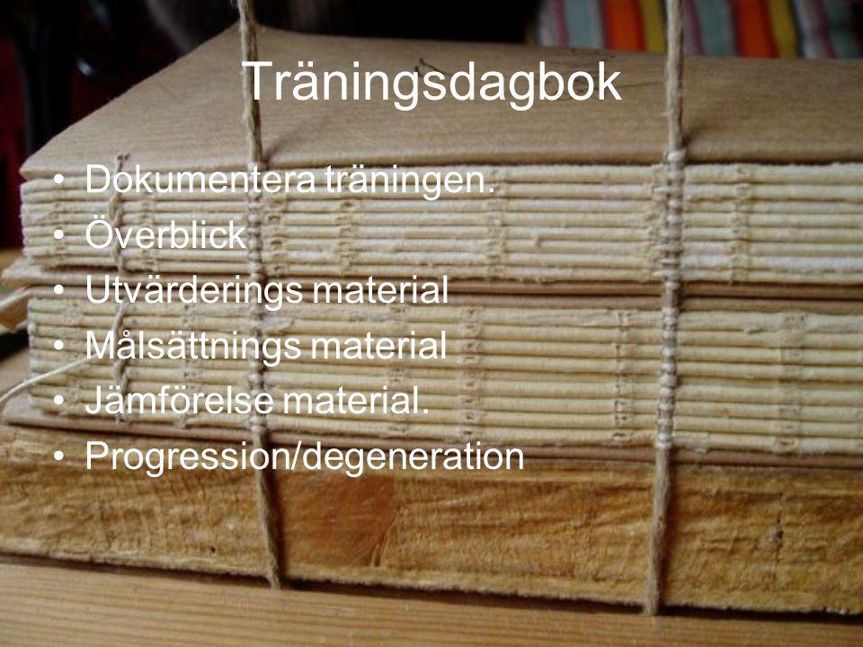 Träningsdagbok Dokumentera träningen.