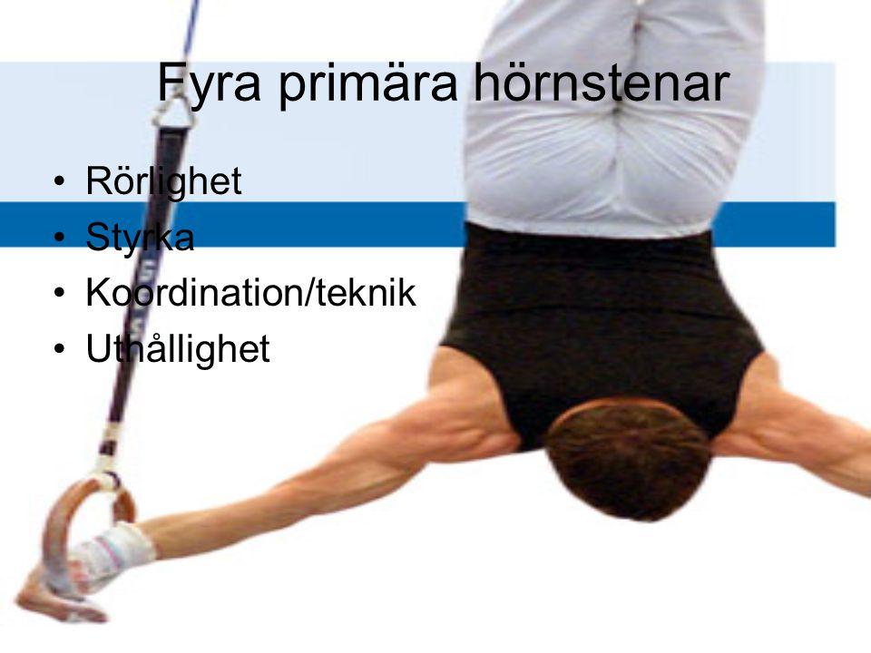 Fyra primära hörnstenar Rörlighet Styrka Koordination/teknik Uthållighet