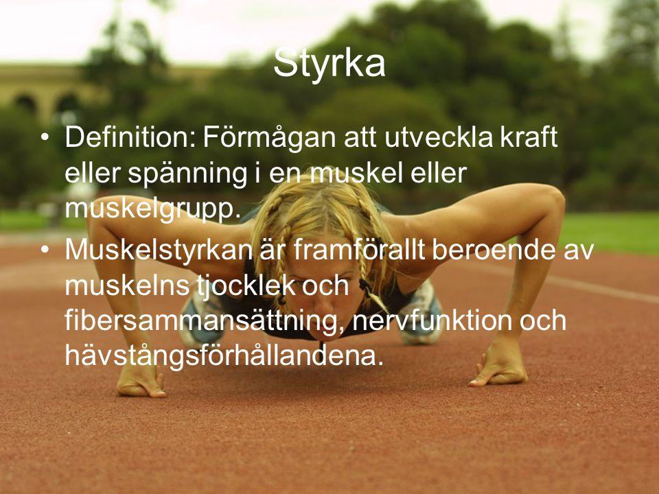 Styrka Definition: Förmågan att utveckla kraft eller spänning i en muskel eller muskelgrupp.