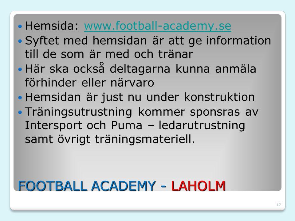 12 FOOTBALL ACADEMY - LAHOLM Hemsida: www.football-academy.sewww.football-academy.se Syftet med hemsidan är att ge information till de som är med och