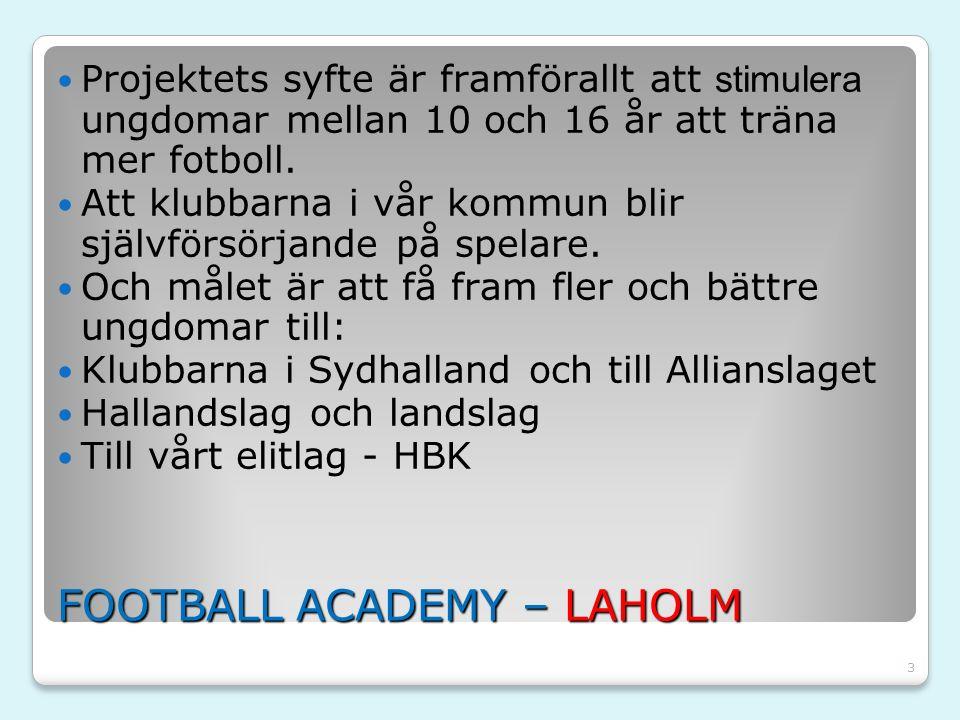 3 FOOTBALL ACADEMY – LAHOLM Projektets syfte är framförallt att stimulera ungdomar mellan 10 och 16 år att träna mer fotboll. Att klubbarna i vår komm