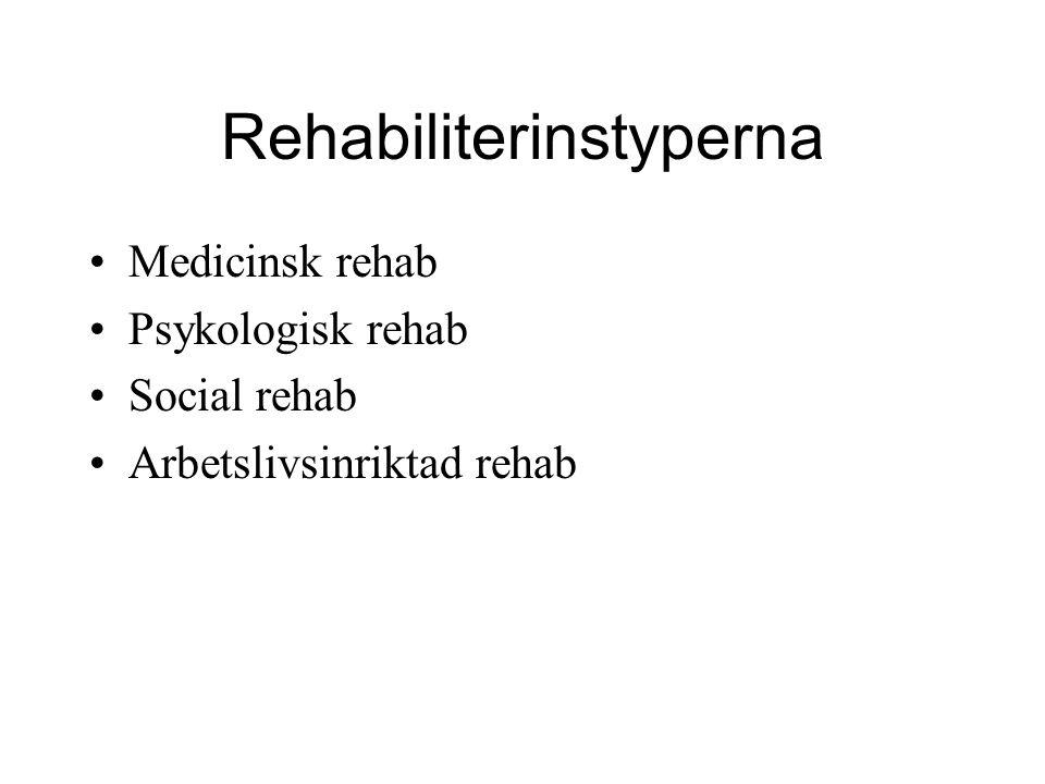 Rehabiliterinstyperna Medicinsk rehab Psykologisk rehab Social rehab Arbetslivsinriktad rehab